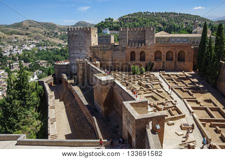 Granada, Spain - July 11, 2012: Terrace towers and wall of medieval Alcazaba fortress of Alhambra Granada Spain