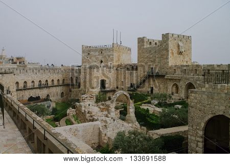 Towers And Walls Of Jerusalem Citadel And Tower Of David  In Sandstorm. Jerusalem, Israel