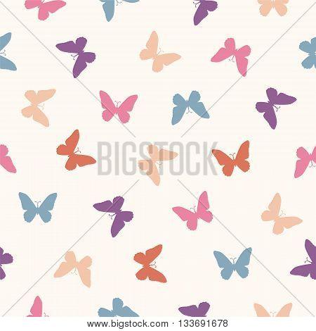 Vector seamless pattern - flat simple pastel butterflies