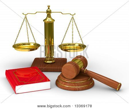 Scales Justice And Hammer On White Background