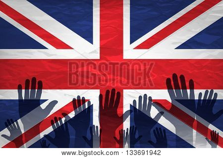 Open Hand Raised, Multi Purpose Concept, Uk United Kingdom Flag Painted Isolated On White Background