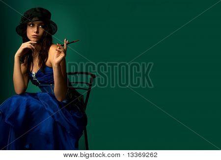 Beautiful woman in a black hat.