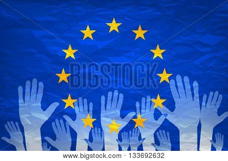 Image Of Hands On The Background Of The European Flag. Make A Choice. Vote. Cast Your Vote For Europ