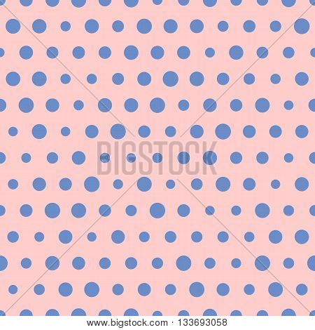 Random vector pattern of big and small blue polka dots on pink background. Polka dots. Seamless background for scrapbooking, textile and web