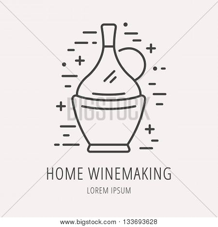 logo or label Wine making. Line style logotype template with elements wine making. Easy to use business template. Vector abstract logo or emblem.