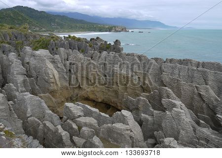 The Pancake Rocks in Punakaiki on the west coast of New Zealand's South Island. A remarkable geological rock formation