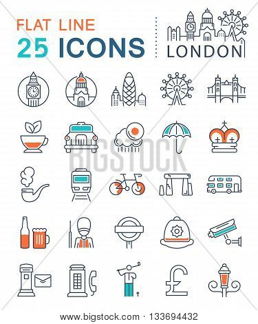 Set vector line icons in flat design London and England with elements for mobile concepts and web apps. Collection modern infographic logo and sign