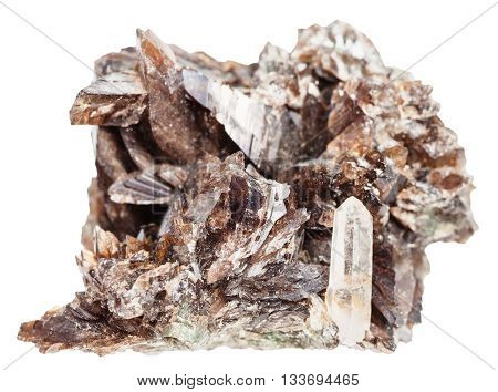 Axinite Crystals And One Quartz Crystal In Druse