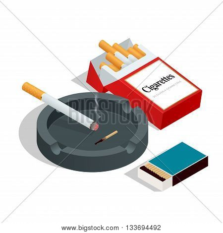 Box of matches, cigarettes pack, cigarette on white isolated background. Flat 3d vector isometric illustration