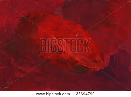 abstract simple primitive painting gouache - a bright red spot on a dark red background