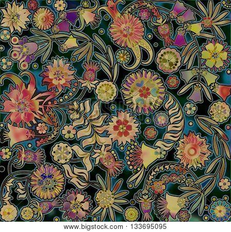motley floral design on spotted dark  background