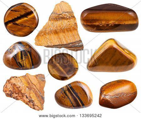 Set Of Polished And Raw Tiger-eye Gemstones