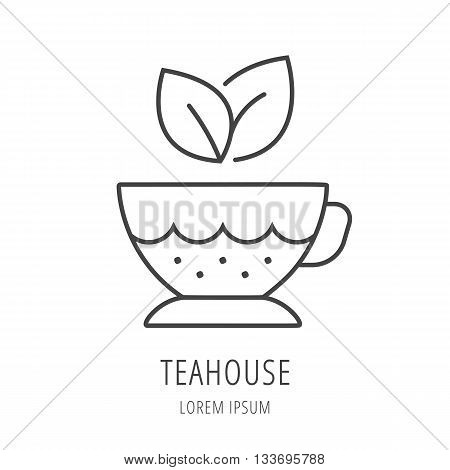 logo or label teahouse. Line style logotype template with teacup. Easy to use business template. Vector abstract logo or emblem.