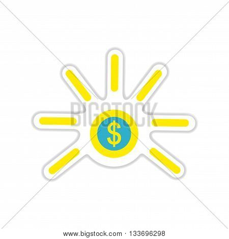 paper sticker on white  background one coin