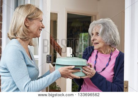 Woman Bringing Meal For Grateful Elderly Neighbour