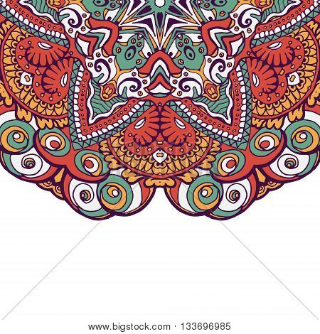 Colorful ornamental ethnic card with mandala. Template with doodle tribal mandala. Vector illustration. Can be used for wedding invitation design and other print design.
