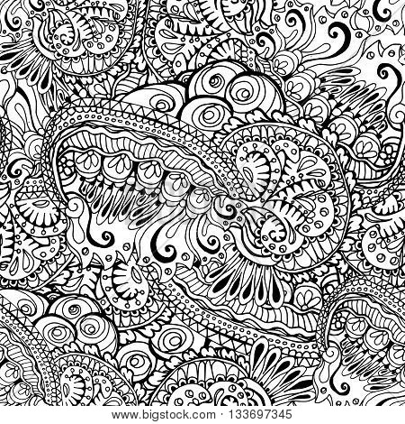 Coloring book page design with pattern. Mandala ethnic ornament. Isolated vector illustration in zentangle style. Headwear or neckwear design.