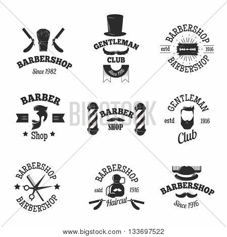 Set of vintage barber shop logo graphics and barber shops logo icons. Vector barber badges logo set and barber shops logo antique hairdresser razor graphic. Haircut old stamp salon scissors shave set.