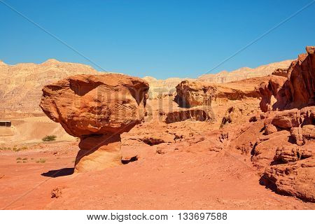 Beautiful sandstone formations (The Mushroom) in the Negev desert Timna National Park near to Eilat Israel