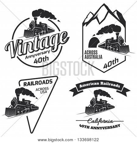Set of retro train logo emblems and icons isolated on white background. Vintage locomotive label collection. Railroad labels.