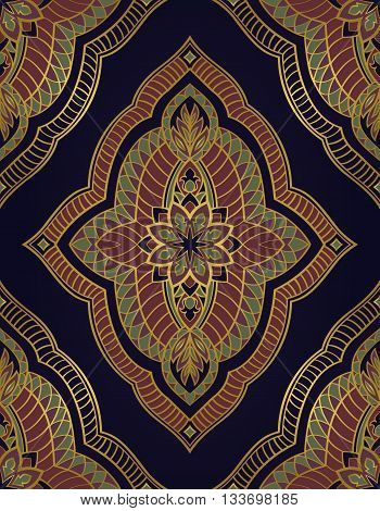 Oriental abstract ornament. Templates for carpet wallpaper textile and any surface. Seamless vector pattern of gold contours on a dark blue background.