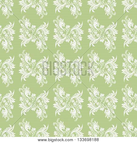 Green seamless pattern for wall. Wallpaper fabric textile design with mandalas and decorative vintage, trendy color elements.Vector illustration