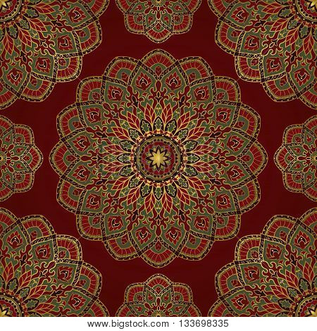 Oriental seamless pattern of mandalas. Vector rich red background. Template for textile carpet wallpaper shawls.