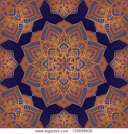 Oriental seamless pattern of mandalas. Vector pattern on a blue background. Template for textile carpet wallpaper shawls.