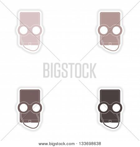 Set of paper stickers on white background  mobile phone binoculars