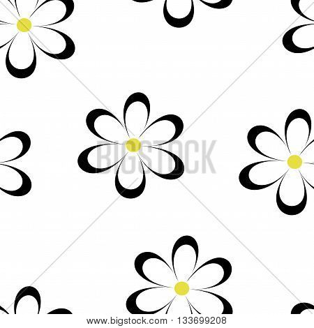 Seamless pattern. Vector illustration with flowers. Vintage floral print. Field of cute daisies. Textile design with black chamomiles on white background. Spring or summer template. Surface texture.