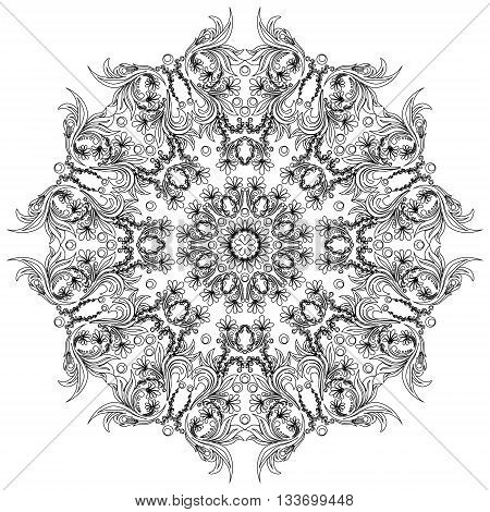 Mandala element with flower. Ethnic ornamental mandala isolated on white, can be used for wallpaper interior design.Black mono color lacy rosette.