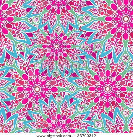 Seamless colorful pattern. Oriental style. Fabric or wall paper texture. Ethnic Mandala forms. Islam Arabic Indian motifs. Abstract Tribal vector. Floral background. Creative elements. Bright pink.