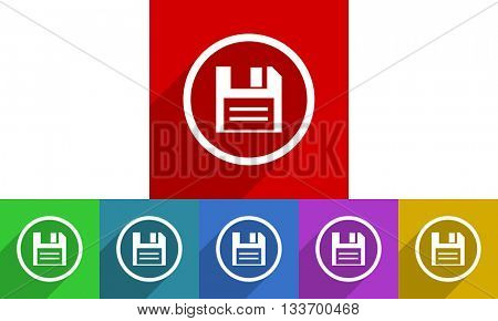 disk vector icons set, colored square flat design internet buttons