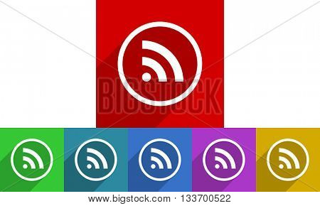 rss vector icons set, colored square flat design internet buttons
