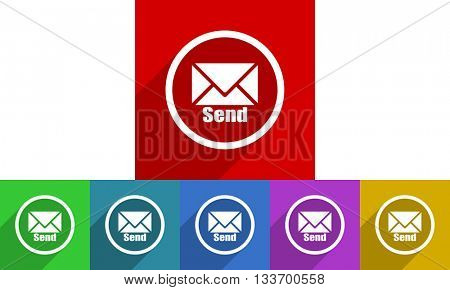 send vector icons set, colored square flat design internet buttons