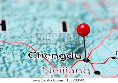 Chengdu pinned on a map of China