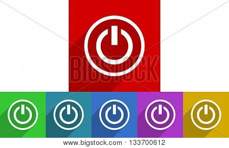 power vector icons set, colored square flat design internet buttons
