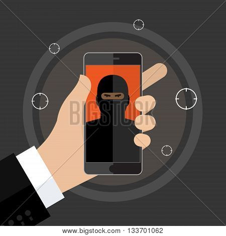Concept of terrorism. Man hold phone with icon of terrorist on screen. Flat design, vector illustration.