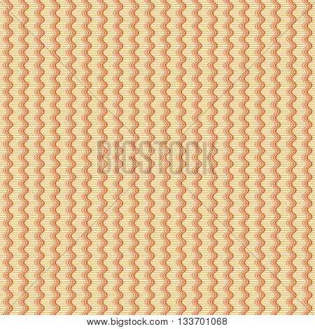 Abstract seamless geometric pattern. Vertical wavy triple lines on the background of thin horizontal stripes. Simple endless print in yellow and shades of orange colors