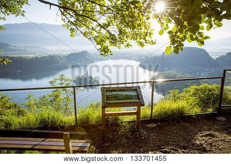 View on Bled lake from the viewpoint Slovenia