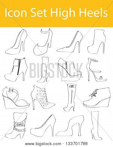 Drawn Doodle Lined Icon Set High Heels