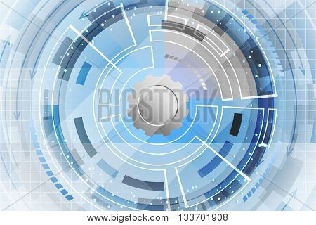 Blue abstract vector technological futuristic background. Gear wheel geometrical elements and arrows.