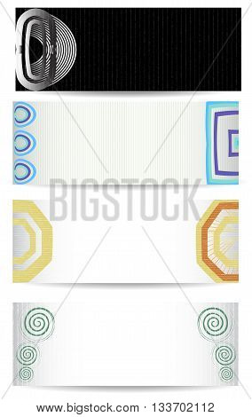 Banner template for webdesign with abstract retro motifs. Four banners with abstract geometric motifs