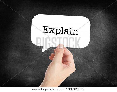 Explain written on a speechbubble