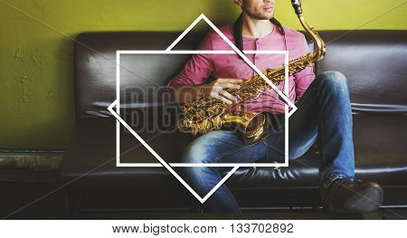 Male Saxophone Musician Label Banner Graphic Concept