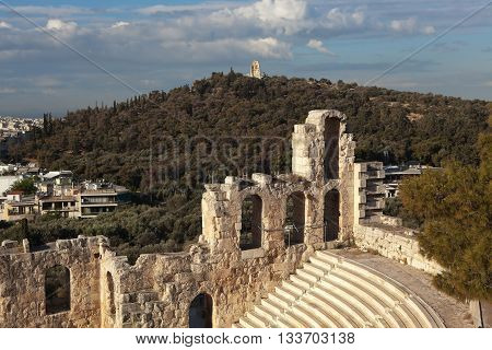 Amphitheater Acropolis. It was built in 160-161 years. BC Located on the southern slope of the Acropolis, next to the arch Evmenis.