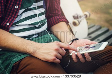 Skater Outdoors Smartphone Music Concept