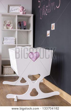 Cute White Cradle In Nursery Room
