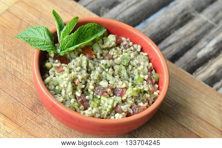 Tabouleh -  Also known as Tabbouleh and Taboule. Bulgur Wheat salad