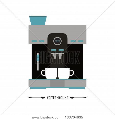 Vector illustration of coffee machine. Flat icon of modern coffee machine with cups. Isolated on white background.